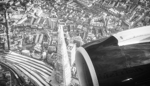 Shard while landing into London City Airport